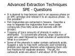 advanced extraction techniques spe questions