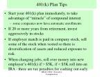 401 k plan tips