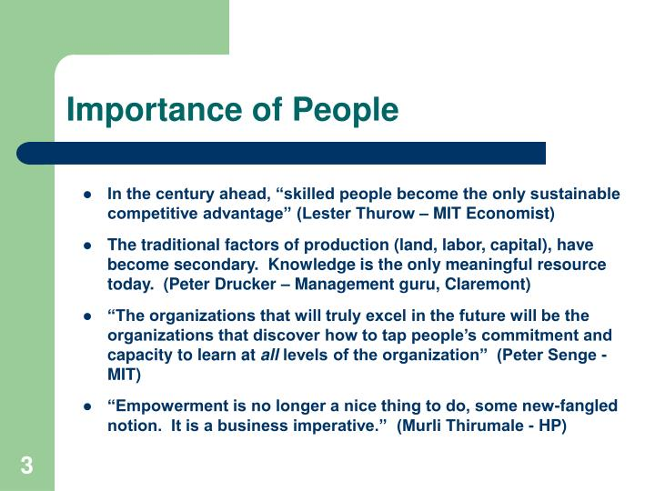 Importance of people