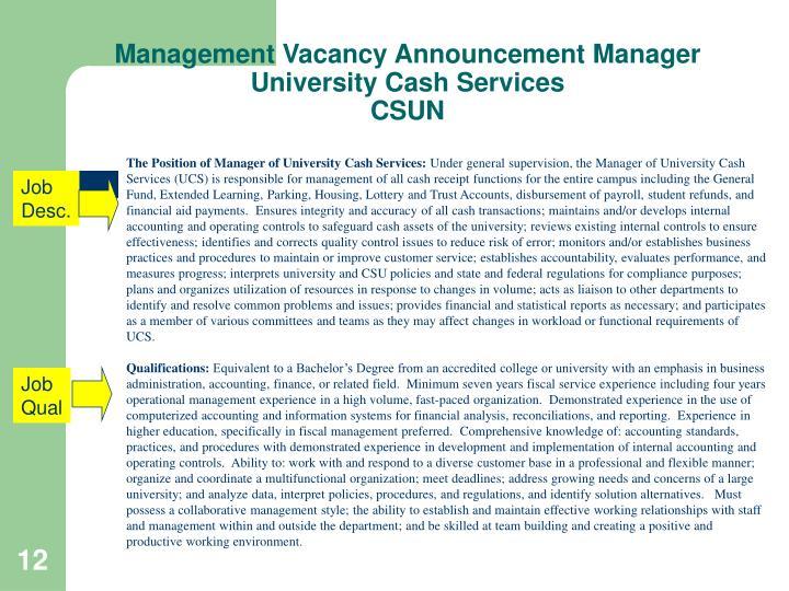 Management Vacancy Announcement Manager