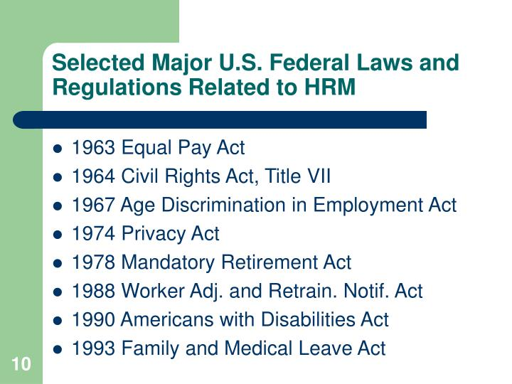 Selected Major U.S. Federal Laws and Regulations Related to HRM