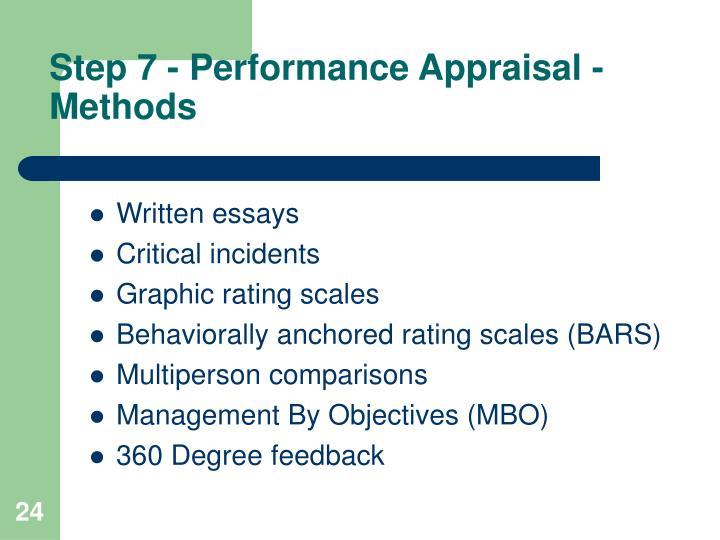 Step 7 - Performance Appraisal -  Methods
