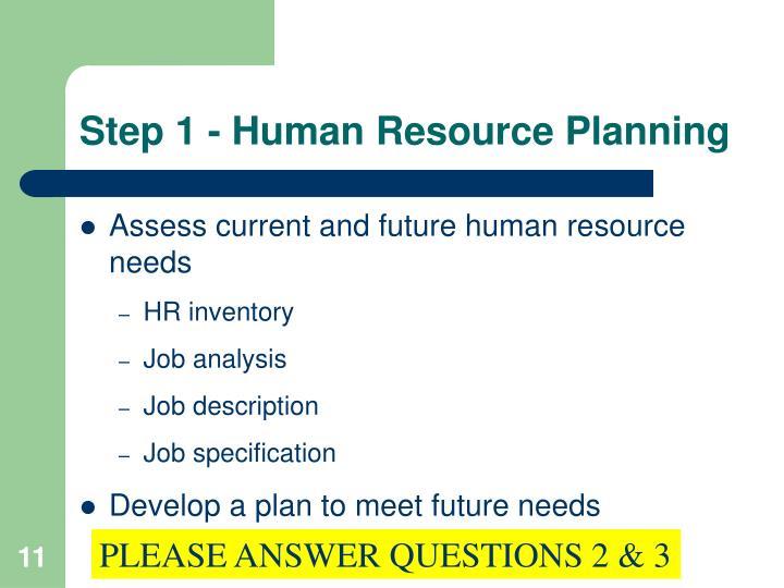 Step 1 - Human Resource Planning