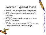 common types of plans