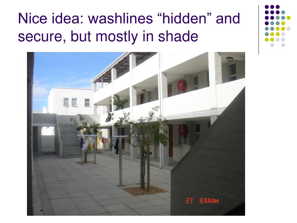 "Nice idea: washlines ""hidden"" and secure, but mostly in shade"