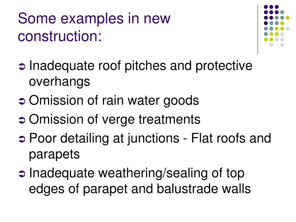 Some examples in new construction: