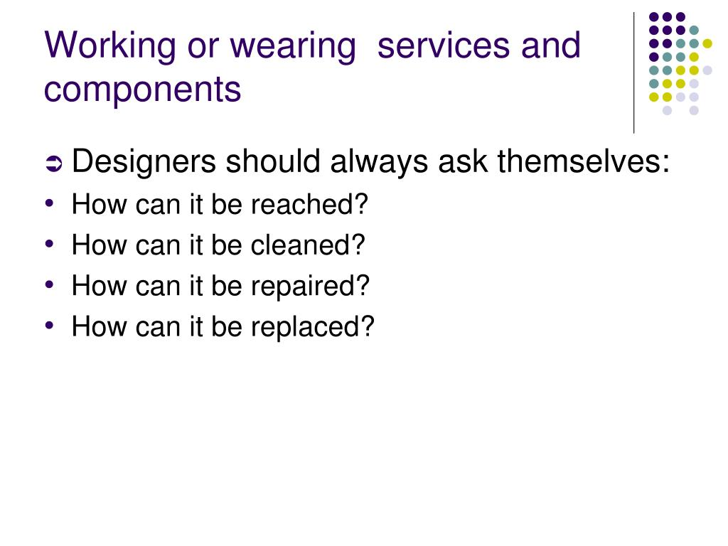 Working or wearing  services and components