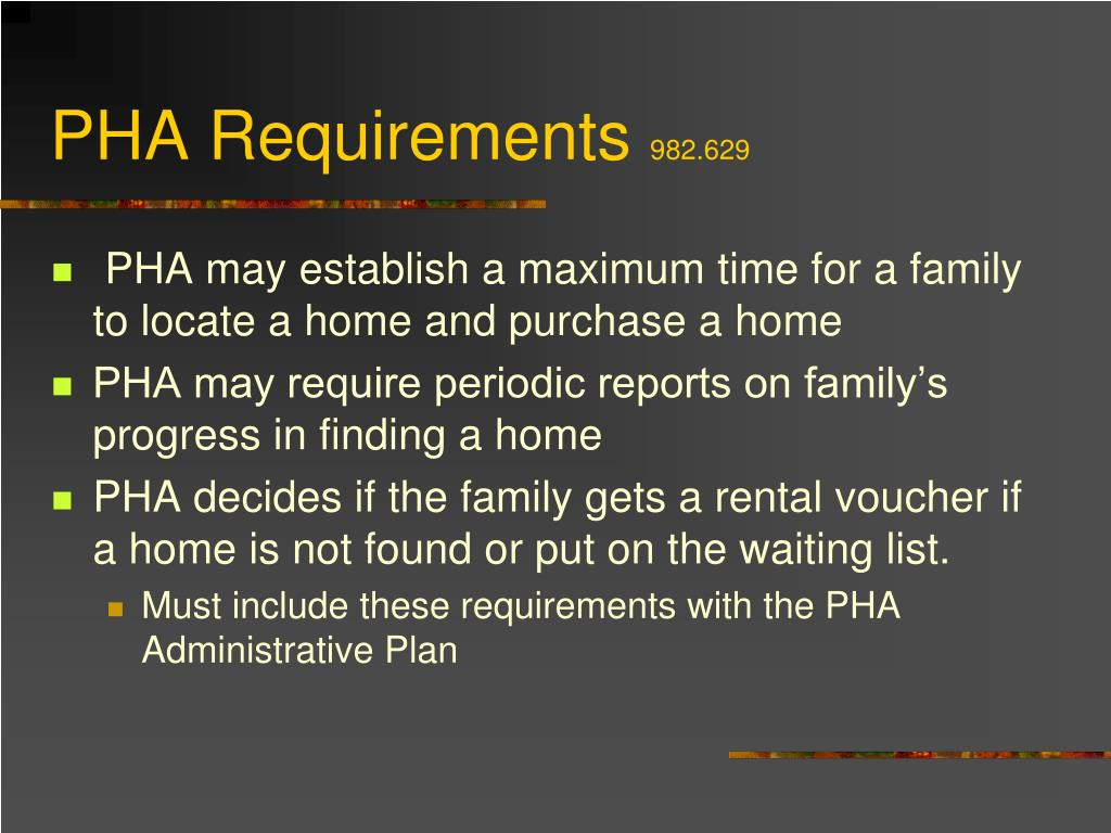 PHA Requirements