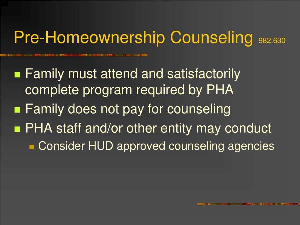 Pre-Homeownership Counseling