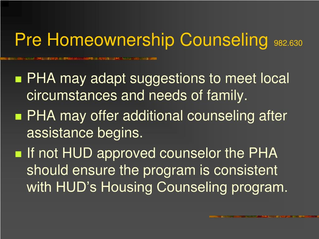 Pre Homeownership Counseling