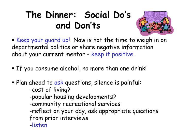 The Dinner:  Social Do's