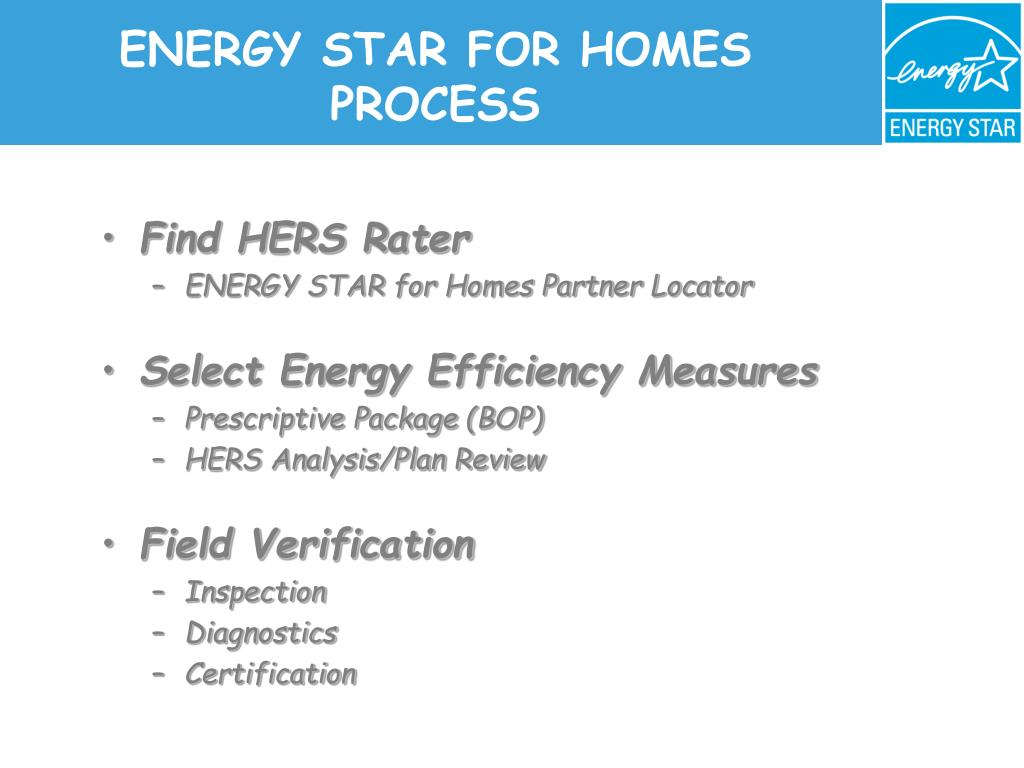 ENERGY STAR FOR HOMES PROCESS