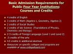 basic admission requirements for public four year institutions courses and credits