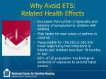 why avoid ets related health effects