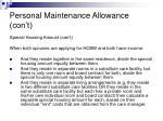 personal maintenance allowance con t8