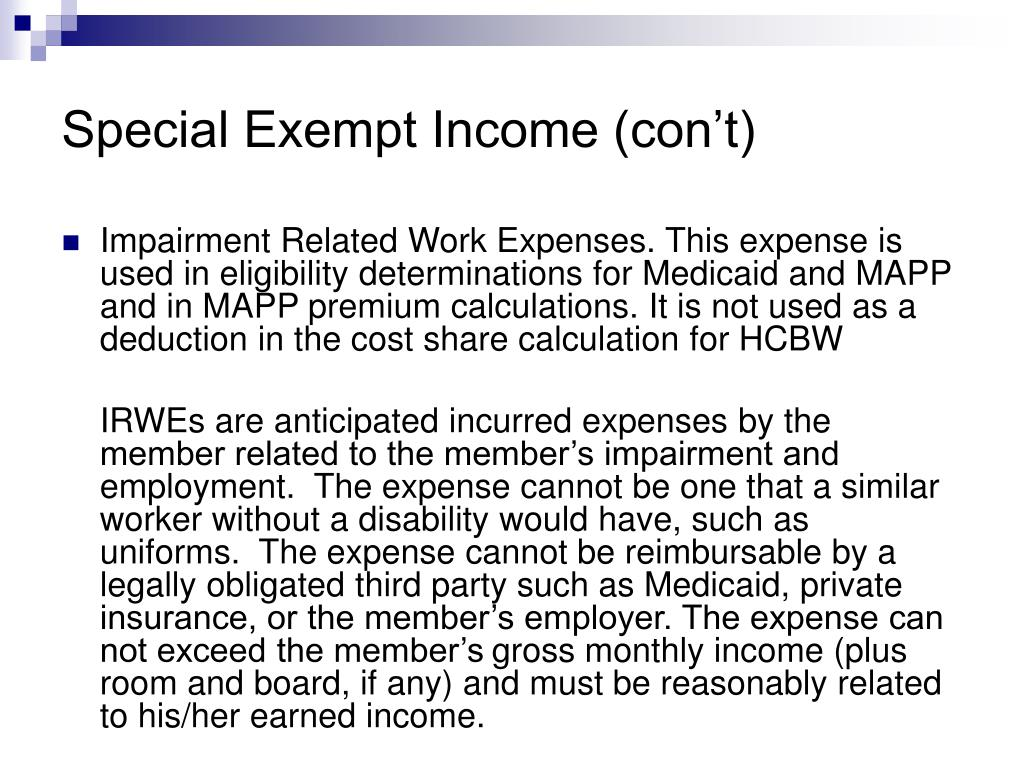 Special Exempt Income (con't)
