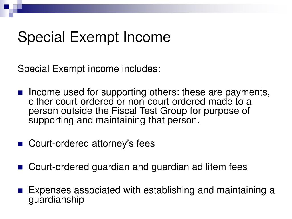 Special Exempt Income