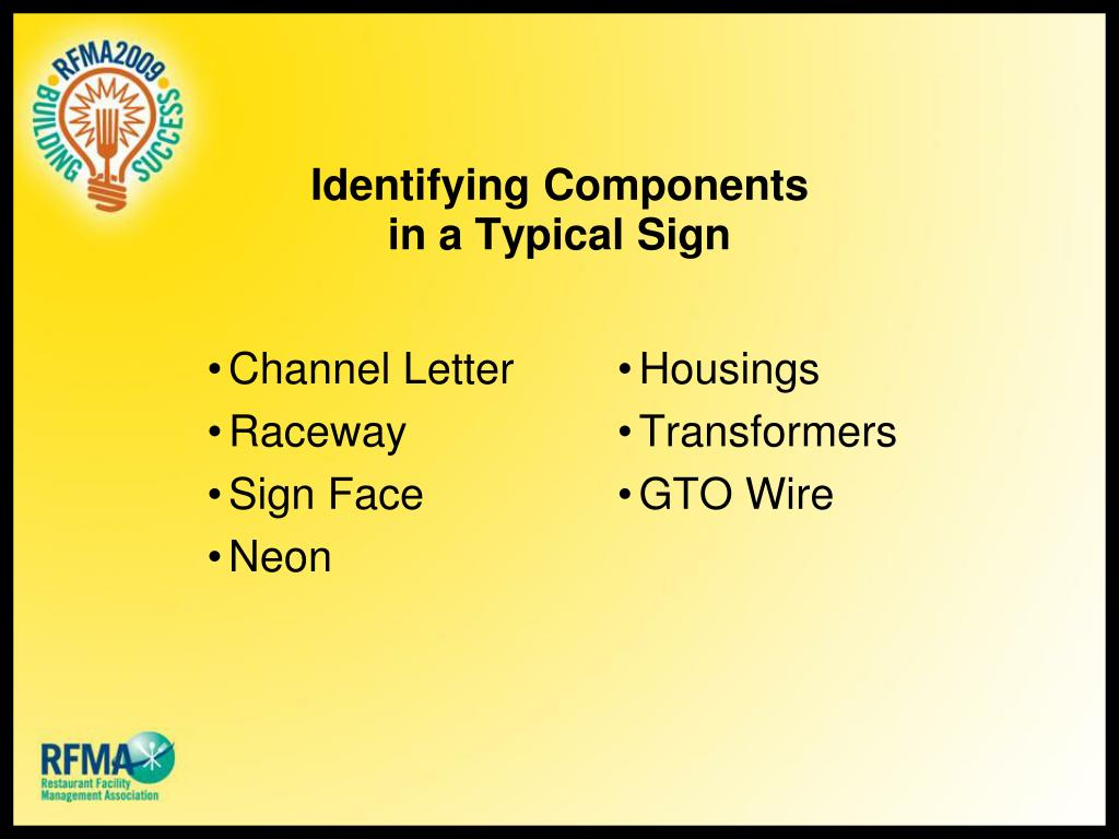Identifying Components in a Typical Sign