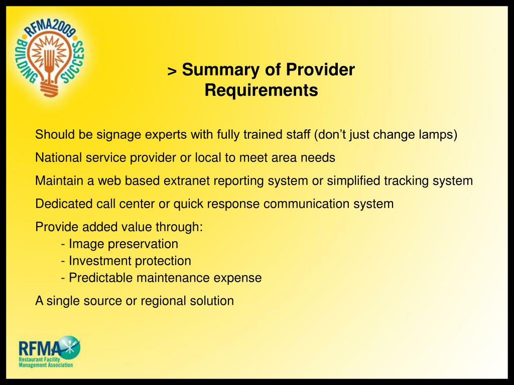 > Summary of Provider Requirements