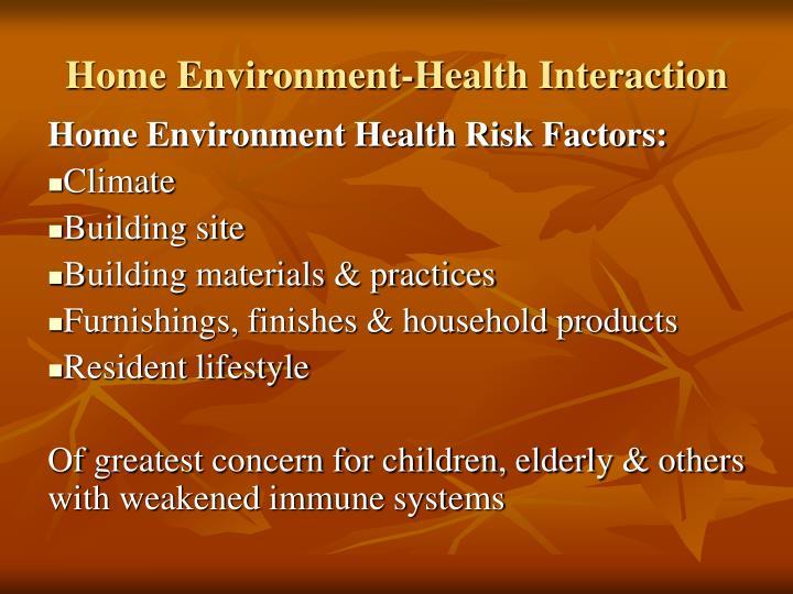 Home environment health interaction
