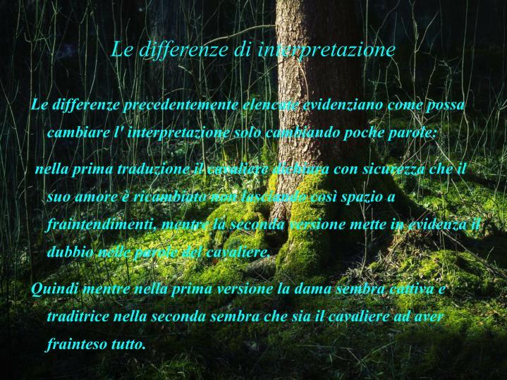 Le differenze di interpretazione