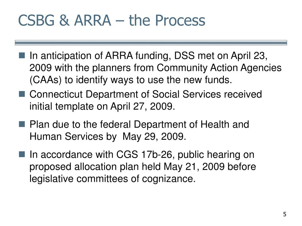 CSBG & ARRA – the Process