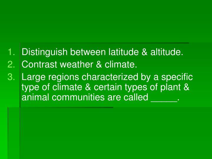 Distinguish between latitude & altitude.