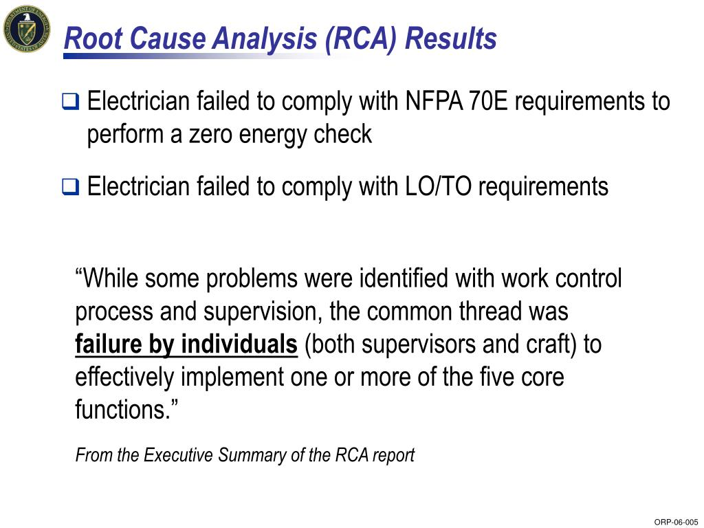 Root Cause Analysis (RCA) Results