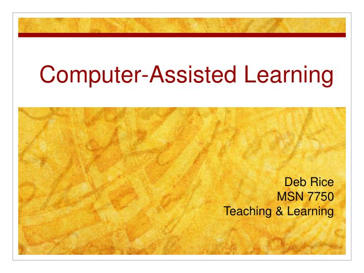 computer assisted learning n.