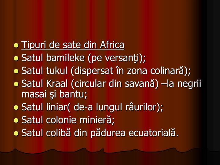 Tipuri de sate din Africa