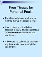 free throws for personal fouls