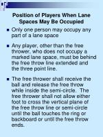 position of players when lane spaces may be occupied1