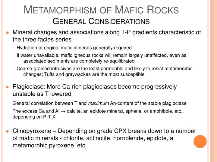 Metamorphism of Mafic Rocks