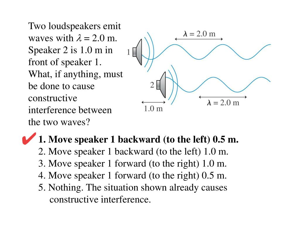 Two loudspeakers emit waves with
