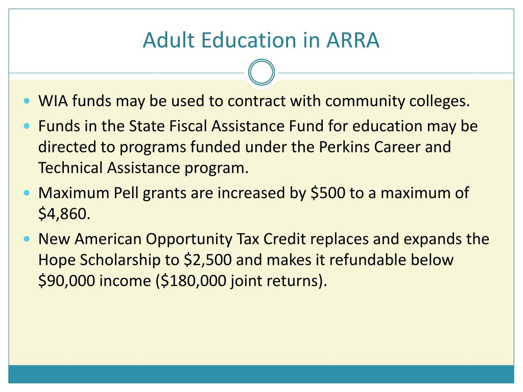 Adult Education in ARRA