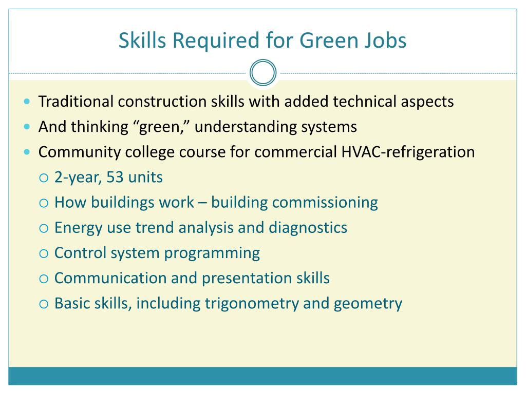 Skills Required for Green Jobs