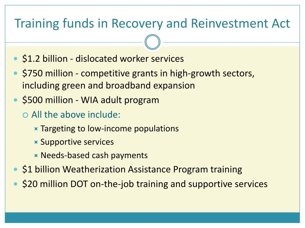 Training funds in Recovery and Reinvestment Act