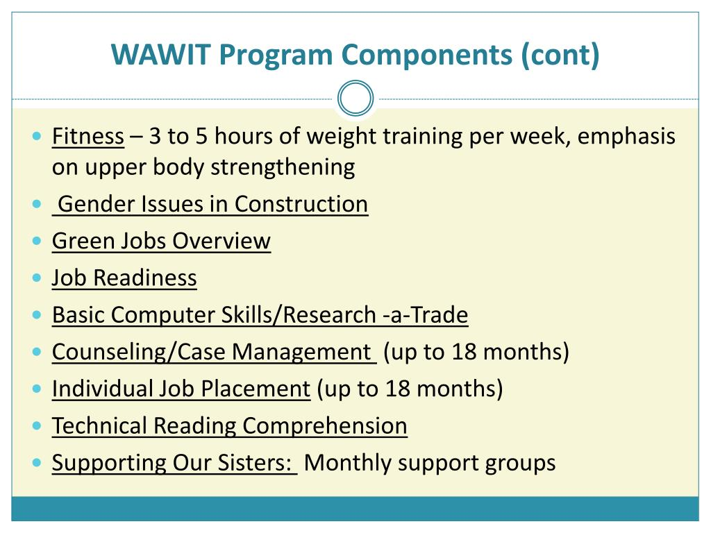 WAWIT Program Components (cont)