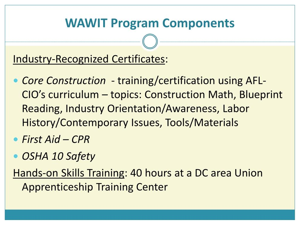 WAWIT Program Components