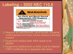 labeling 2002 nec 110 6