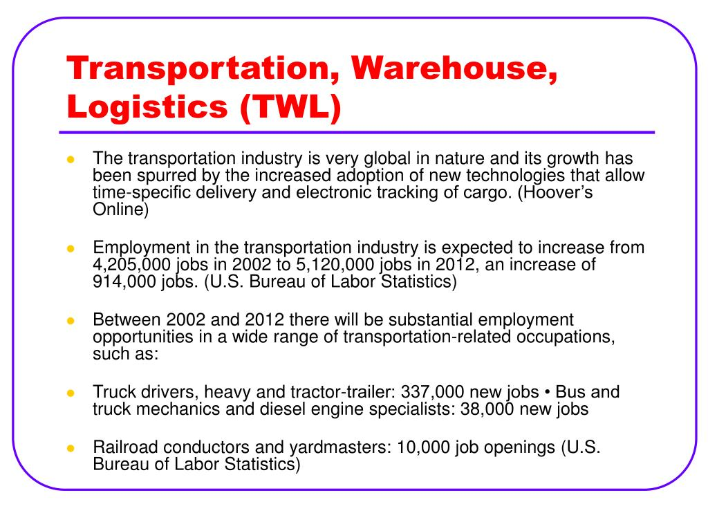 Transportation, Warehouse, Logistics (TWL)