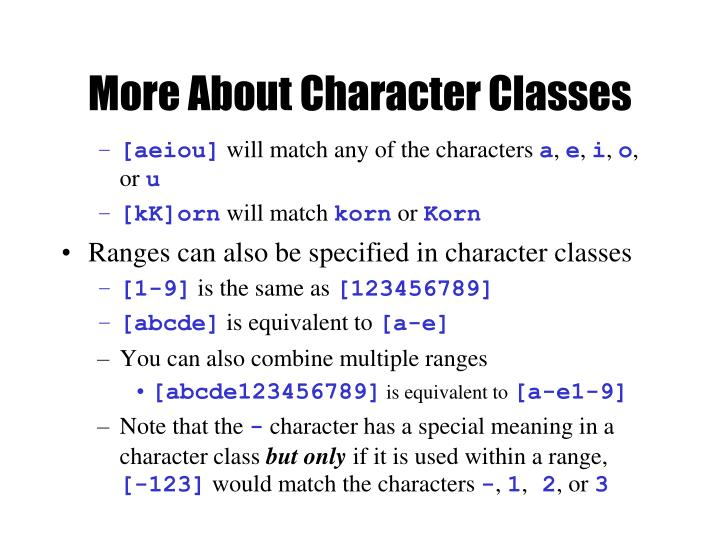 More About Character Classes