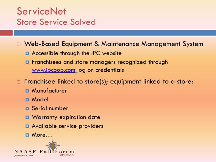 Servicenet store service solved