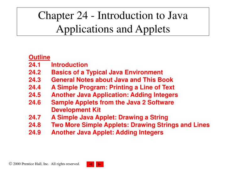 chapter 24 introduction to java applications and applets n.