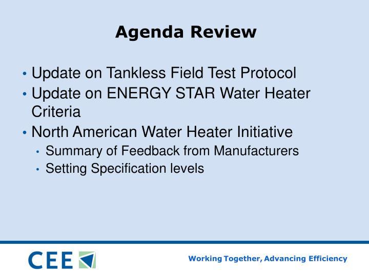 Agenda review