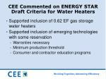 cee commented on energy star draft criteria for water heaters