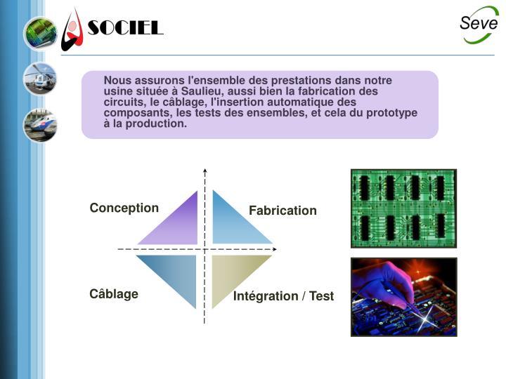 Nous assurons l'ensemble des prestations dans notre usine située à Saulieu, aussi bien la fabrication des circuits, le câblage, l'insertion automatique des composants, les tests des ensembles, et cela du prototype à la production.