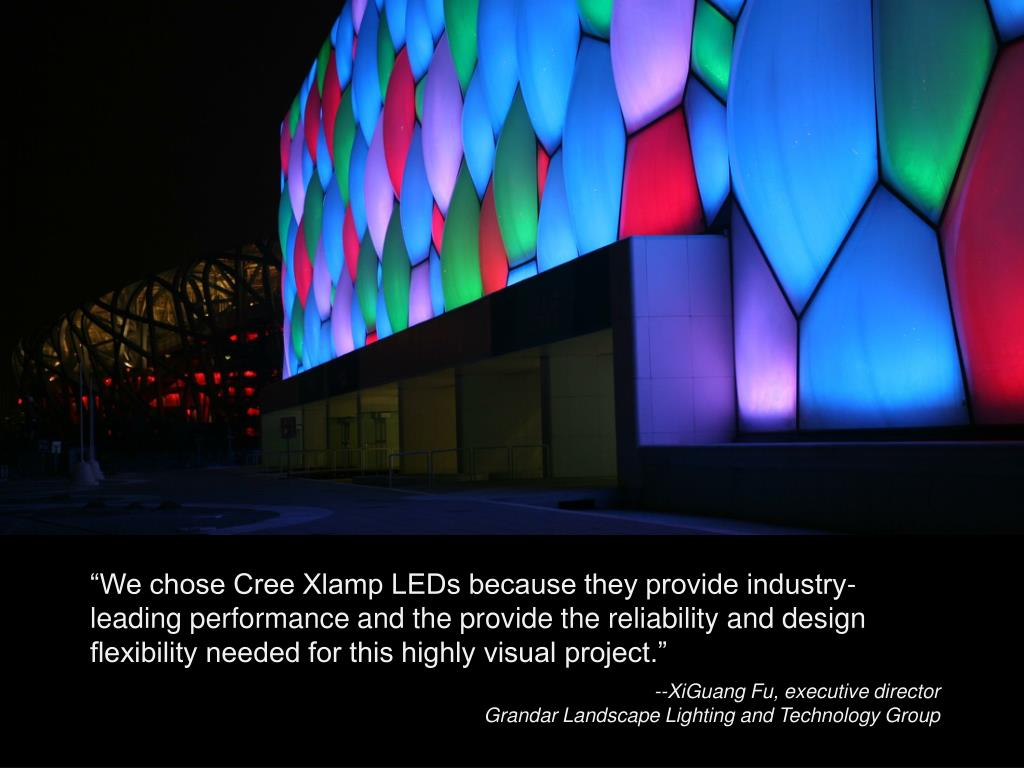 """""""We chose Cree Xlamp LEDs because they provide industry-leading performance and the provide the reliability and design flexibility needed for this highly visual project."""""""