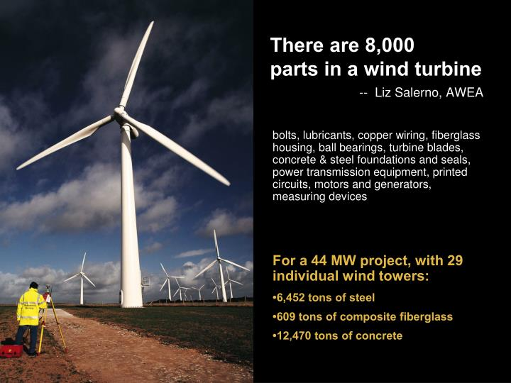 There are 8 000 parts in a wind turbine liz salerno awea