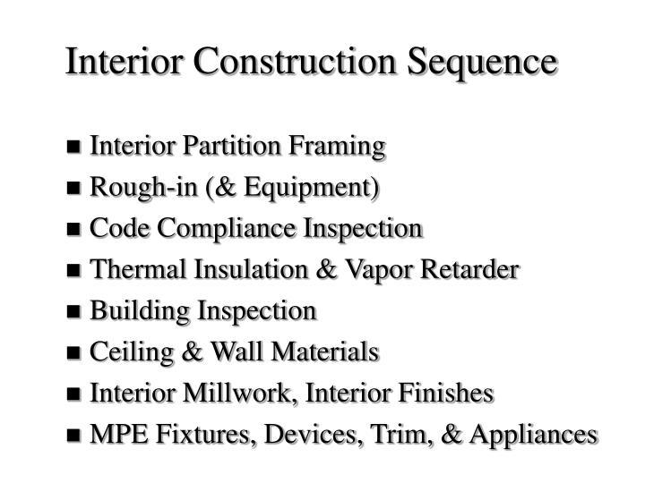 Interior Construction Sequence